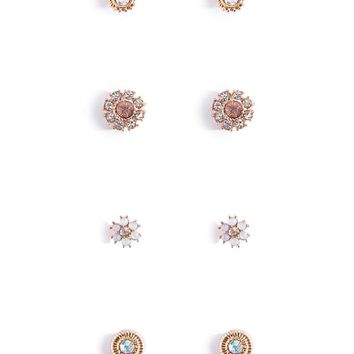 Faux Gem Stud Earring Set