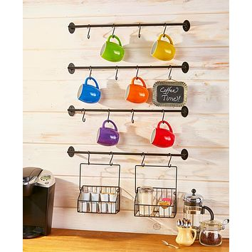 Wall Mounted Coffee Mug Rack 6 Pce w/Hooks & Baskets Steel Kitchen Storage