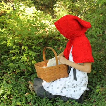 Little Red Riding Hood, Knitted, Cape, Handmade, Childrens, Capelet, Costume, Dress Up, Play