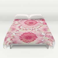 Flowery Pink and White Duvet Cover by Jennifer Warmuth Art And Design
