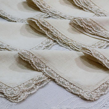 Twelve Linen Napkins, Filet Lace Edging, Light Beige Ecru, Drawn Work, French Country, Weddings, 1920s, Antique Linens