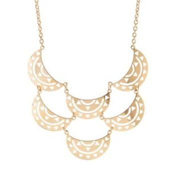 Gold Cut-Out Crescent Bib Necklace by Charlotte Russe