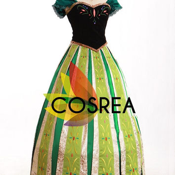 Disney Frozen Anna Coronation Cosplay Dress Set - Free Shipping