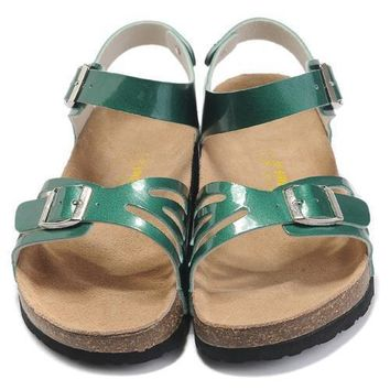 Birkenstock Leather Cork Flats Shoes Women Men Casual Sandals Shoes Soft Footbed Slippers-3