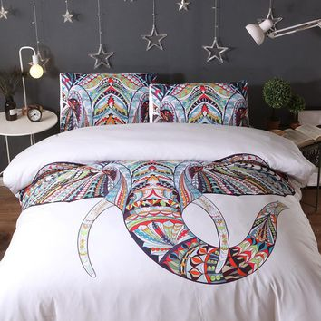Cool 3PS comfort Bedding Sets Colorful Bohemian Print Duvet Cover Pillowcase Elephant Exotic Bedclothes Multi king queen jogo de camaAT_93_12