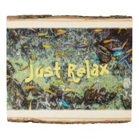 Just Relax Colorful Fish Swimming Your Quote Wood Panel