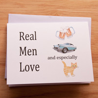 Naughty Card, Card For Boyfriend, Dirty Card, Man Loves Pussy, Gift For Him, Cat Card, Real Men, Funny Card, Mature Card, Birthday Card