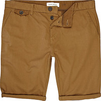 River Island MensBrown roll up shorts