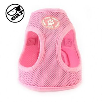 Adjustable Soft Nylon Mesh Small Dog Harness Vest Step-in Breathable Pet Cat Belt Collar & Leash Walking Safety Strap Clothes