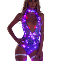 LED Purple Mermaid Rave Bodysuit