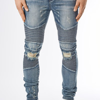 JN151 Ripped Stone Wash Biker Denim - Mid Blue