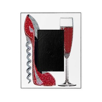 GLITTER RED CORKSCREW STILETTO AND C PICTURE FRAME