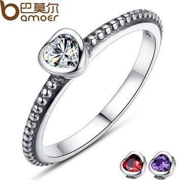 BAMOER Mother's Day Gift 3 Colors Authentic 100% 925 Sterling Silver Ring Love Heart Ring Original Wedding Jewelry PA7107