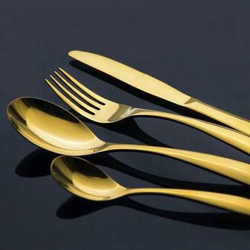 Exquisite Stainless Steel Cutlery Gold Plated Dinnerware Set Western Style Golden Fork Spoon Knife Flatware 4 Piece Dinner Set