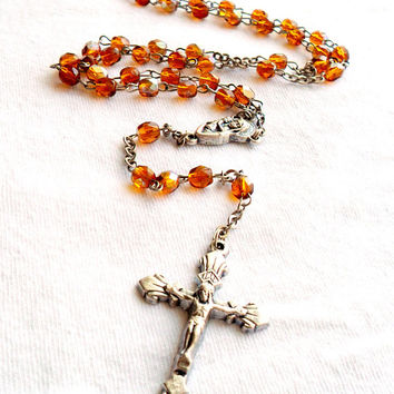 Vintage Rosary Amber Glass Aurora Borealis Silver Tone Made in Italy Religious Religion Catholic Devotional Crucifix
