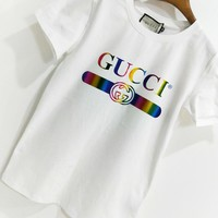 GUCCI Fashion New Summer Bust Rainbow Gradient Letter Leisure Women Men T-Shirt Top White