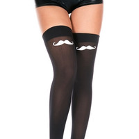 Mustache Top Thigh High Stockings
