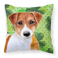 Jack Russell Terrier St Patrick's Fabric Decorative Pillow BB9863PW1414