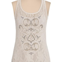 Stud embellished lace front tank