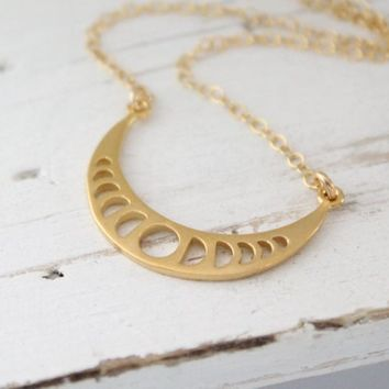 Moon Phase Necklace, Moon Phases, Lunar Necklace, Phases of the Moon, Moon Jewelry, Moon Necklace, Celestial Jewelry, Astronomy Lovers