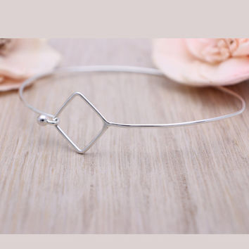 925 sterling silver open square bangle bracelet