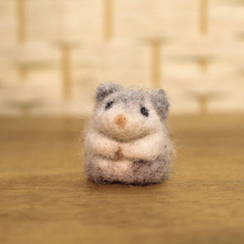 Tiny hamster,  wool miniature, needle felted, soft sculpture, made to order