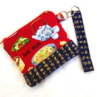 Dim Sum and Tea Wristlet Clutch - Blue Red Chinese Food Zipper Pouch