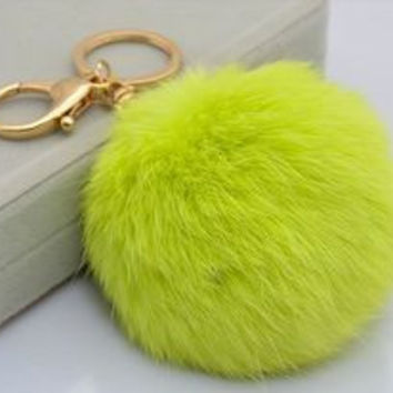 Pale Green Big Rabbit Fur Pom Keychain