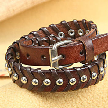 Fashion Punk  Adjustable Leather Wristband Cuff Bracelet  - Great for Men, Women, Teens, Boys, Girls 2758s