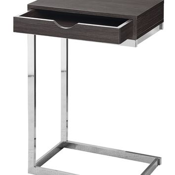 Accent Table - Chrome Metal, Grey With A Drawer