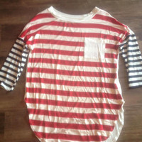 Red & Navy Striped with Ivory Pocket