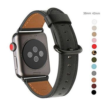 Apple Watch Band 38mm Grain Genuine Leather Band Replacement Strap