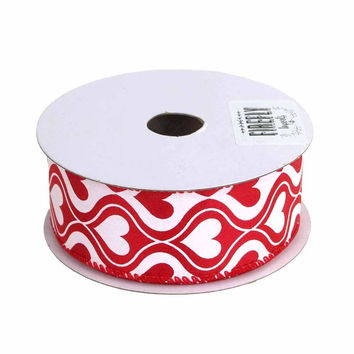 Hourglass Hearts Satin Ribbon Wired Edge, Red/White, 1-1/2-Inch, 10 Yards