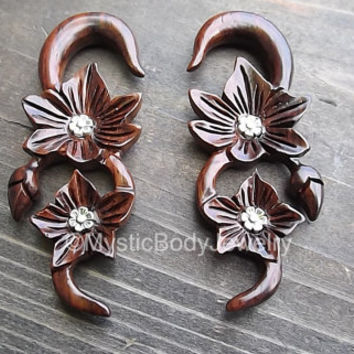 Hanging Wood Gauge Earrings 0g Ear Plug Flowers Organic Wooden Body Jewelry Weights Dangle Plugs