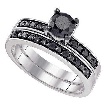10kt White Gold Women's Round Black Color Enhanced Diamond Bridal Wedding Engagement Ring Band Set 1.00 Cttw - FREE Shipping (US/CAN)