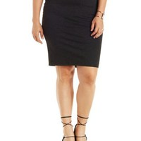 Plus Size Charcoal Ponte Knit Pencil Skirt by Charlotte Russe