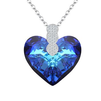 """925 Sterling Silver CZ """"Heart of Ocean"""" Inspired Pendant Necklace Ocean Blue Made with Swarovski Crystals"""