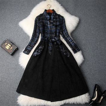 Street Elegant Ladies Winter Trench Coat Fashion Full Sleeved Double Breasted Outerwear Plaid Suede Leather Coat