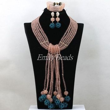 Elegant Peach/Teal Blue Nigerian African Wedding Beads Jewelry Set Traditional - Free Shipping