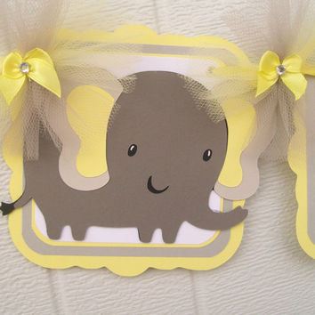 Gender neutral elephant baby shower banner, yellow and grey chevron