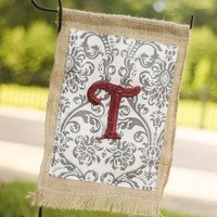 Hand-Made Burlap Garden Flag with Gray/White Pattern and Colored Letter