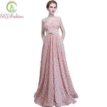 New Bridesmaid Dresses SSYFashion The Bride Sweet Pink Lace Sleeveless Spaghetti Straps Long Party Formal Gown Robe De Soiree