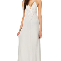White Halter Tassel Backless Long Dress