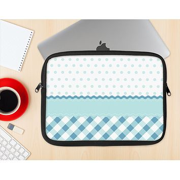 The Subtle Blue & White Plaid with Polka Dots Ink-Fuzed NeoPrene MacBook Laptop Sleeve