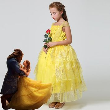 2017 New movie Beauty and the Beast Princess Belle Kids cosplay costume girl yellow wedding dress Free shipping
