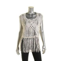 Denim & Supply Ralph Lauren Womens Macrame Fringe Casual Top