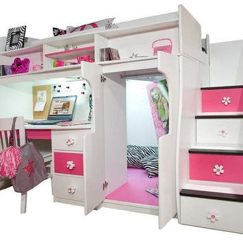 ac spbest Elena's White Twin Size Secret Stairway Loft Bed
