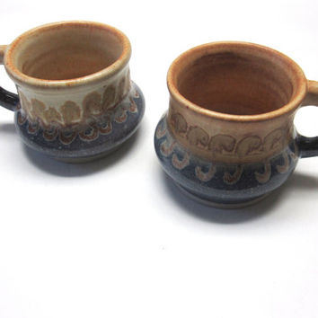 Vintage Hand Thrown Studio Pottery Cups Mugs Pair Large