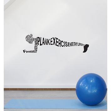 Vinyl Wall Decal Plank Exercise Workout Sport Words Gym Fitness Interior Stickers Mural (ig5930)