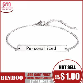 Rinhoo Silver Bar Personalized Bracelet Custom Bracelet For Women Stainless Steel Sided Personalized Engraved Name Jewelry Gift